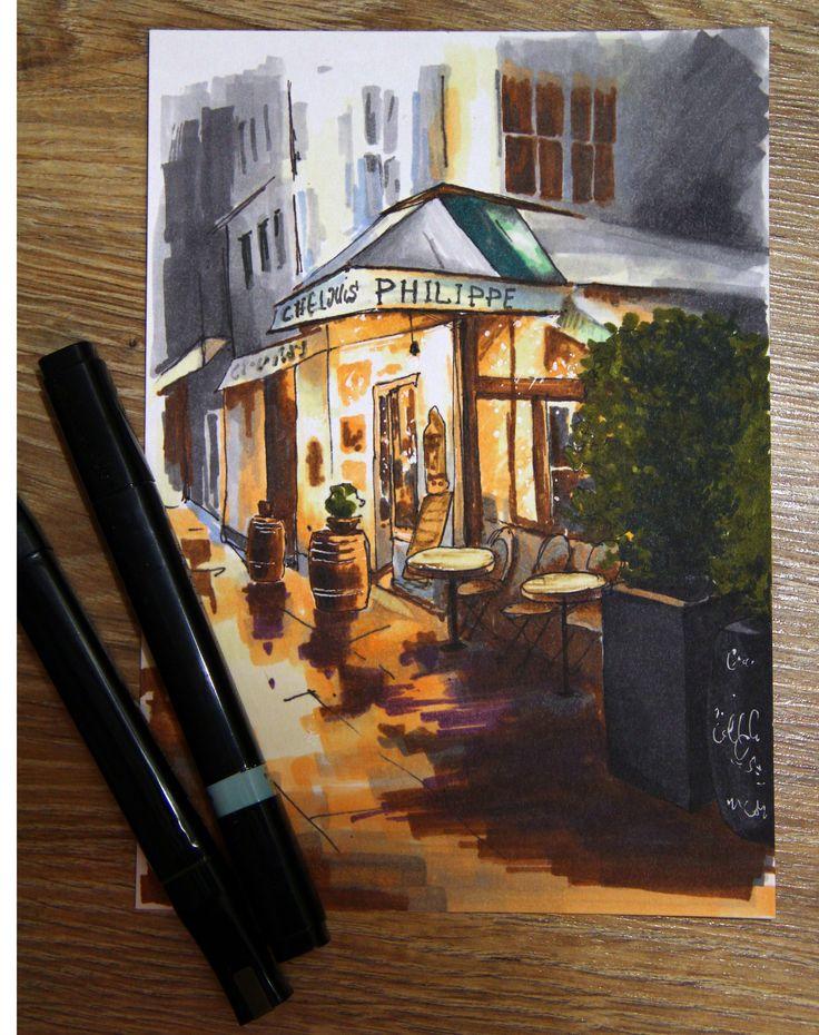 Café (markers) #маркеры#кафе#вечер#скетч#marter#sketch#cafe