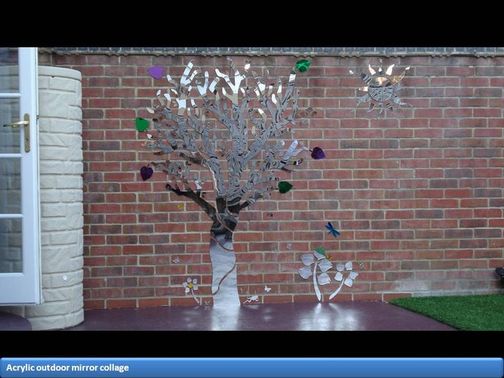 A very effective acrylic mirror collage that gives a surprisingly good reflection and depth to the garden. Many sources from UK and American companies as well as eBay
