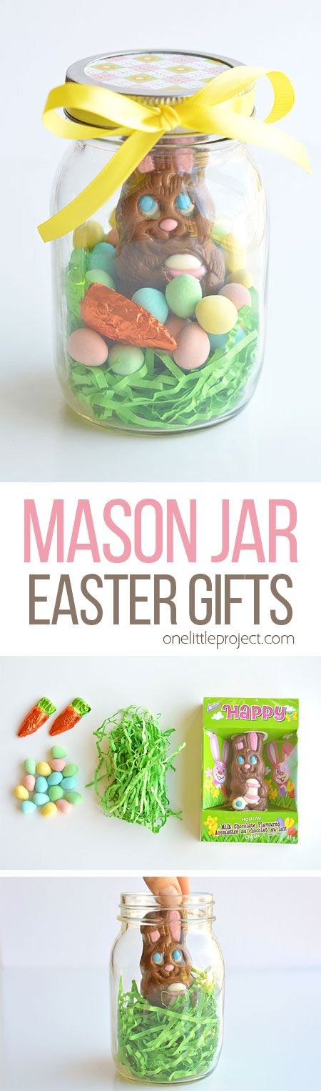 These mason jar Easter gifts are SO EASY and they're so cute! This is such a fun and simple Easter gift idea for your kids, grandkids, friends and coworkers and such an adorable way to give a chocolate bunny! | One Little  Project
