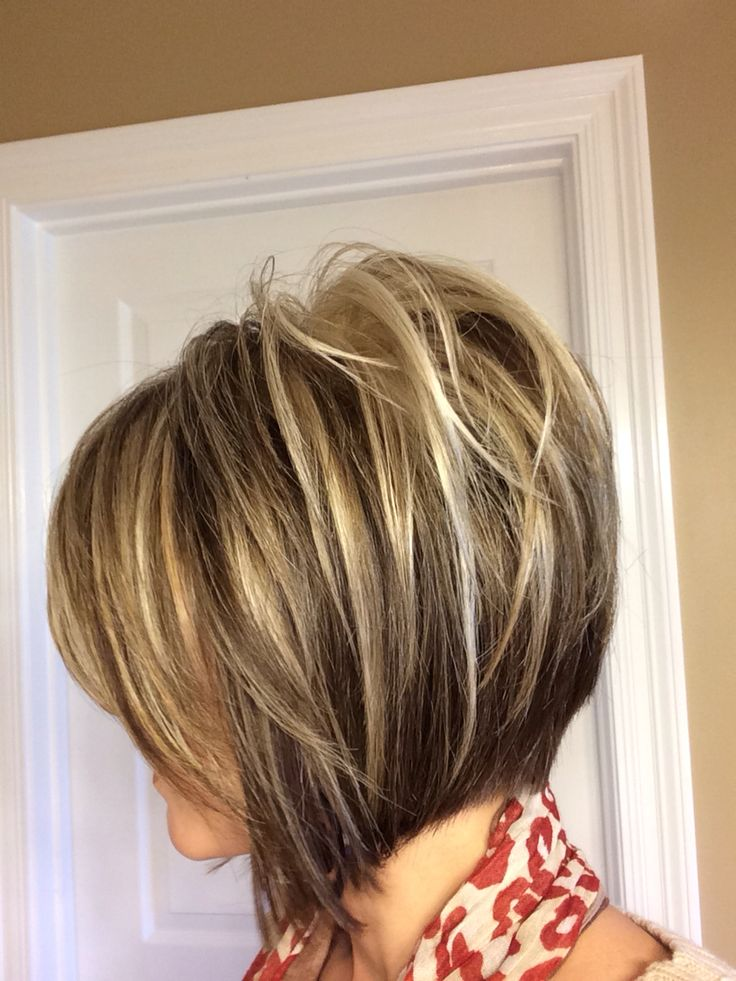 Inverted Bob Short Hairstyle with highlights.