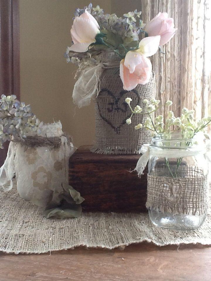Shabby Chic Mason Jar Floral Arrangements