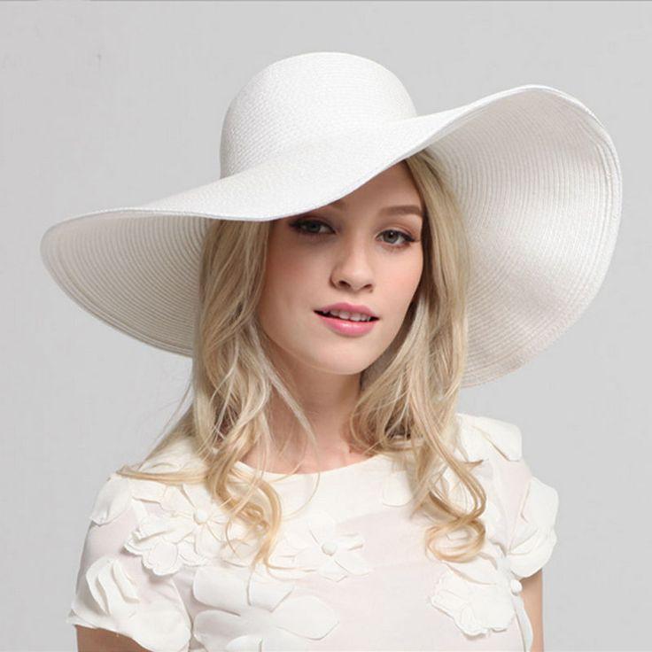 Ladies Summer Holiday Beach Floppy Derby Hat Wide Large Brim Straw Folding 002