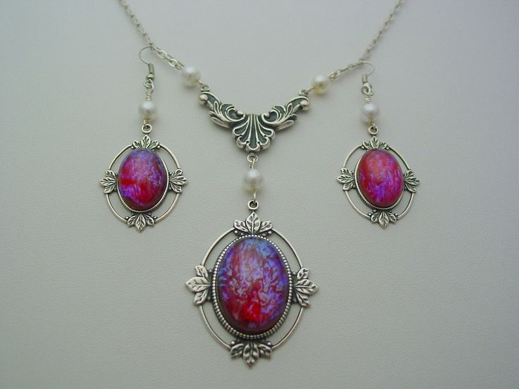 Dragon's Breath Mexican Opal Sterling Silver Plate Antique Art Nouveau Style Pendant with Earrings