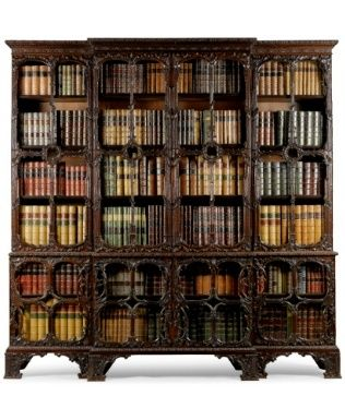 A carved mahogany breakfront library bookcase part circa 1760 - Sotheby's