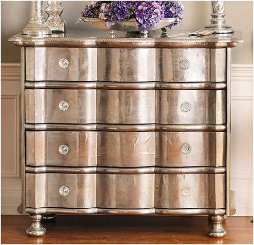 metallic paint on old wood furniture. Gorgeous