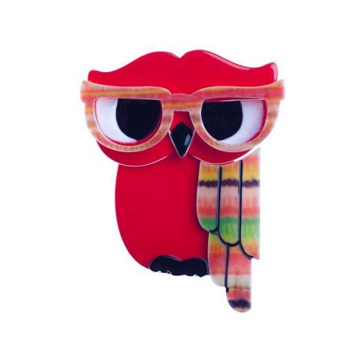 Erstwilder Waldo Owl Brooch in Red!