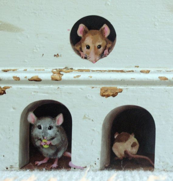 3 x miniature mice/ mouse hole decals - unique stickers from lola murals