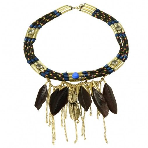 SACHA // Ethnic statement necklace €16,95 #sachashoes #feathers #gold #color