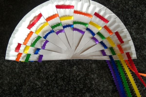 weaving a ribbon rainbow - great craft for fine motor skills. This is so cute - too cute to not last long, so I have a suggestion: For longer life, laminate the plate, then  make the cuts with an xacto knife (#11 blade)