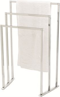 The stylish, chromed towel rack suits perfect in the bathroom but also as clothes hanger in the bedroom.