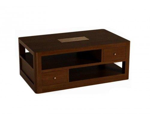 Table basse bois acajou Linea 4 tiroirs