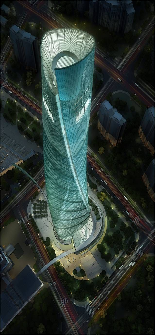 Shanghai Tower, China by Marshall Strabala of Gensler Architecture  :: 128 floors, height 632m