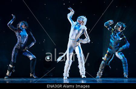 epa04723255 Cast members from the musical production of 'Cats' from London perform during a press presentation of the show, at the Mogador theatre in Paris, France, 27 April 2015. Since its debut in 1981, the musical 'Cats' has risen as one of the most popular an longest-running stage shows in the world and will soon open in Paris on 01 October. EPA/IAN LANGSDON Stock Photo