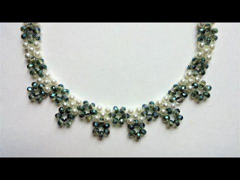bridal necklace-tutorial for beginners-crystal and pearls beads necklace - YouTube