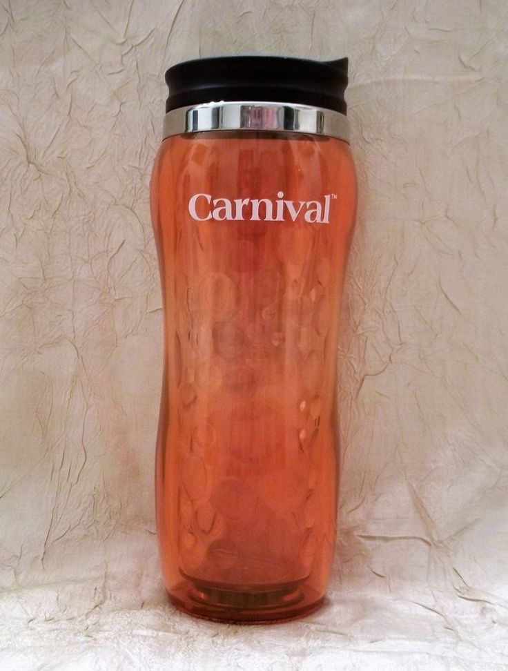 Carnival Cruise Line Hard Plastic Orange Travel Cup Fun For All. All For Fun.