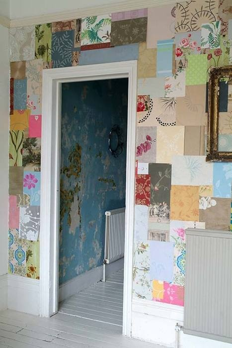 Maybe if it was in one color scheme?  Daily Dream Decor: scrapbook wallpaper (or using sample books of wallpaper)