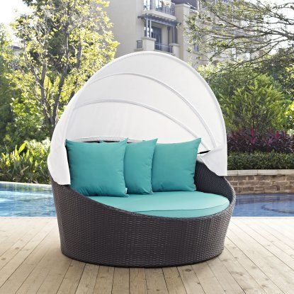 Modway Convene Wicker Outdoor Daybed With Canopy   Outdoor Daybeds At  Hayneedle