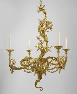 French Louis XV Style (19/20th Cent) Gilt Bronze Chandelier With 4 Scroll  Arms