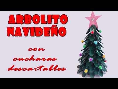 Manualidades para navidad arbolito navide o con cucharas - Arbolito de navidad ...