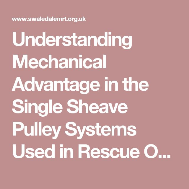 Understanding Mechanical Advantage in the Single Sheave Pulley Systems Used in Rescue Operations - Swaledale Mountain Rescue