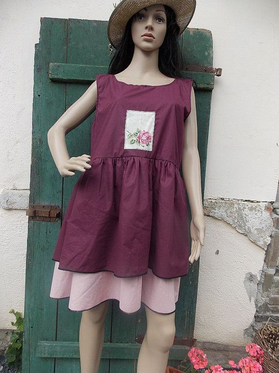 burgundy dress tunic ruffle  country style by AtelierJoanVilem