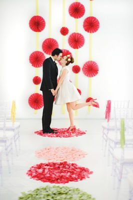 Ribbon Wedding Aisle Décor  What you need : Scissors, flower petals and ribbon  Step 1 Create circle patterns using paper. Step 2 Place on floor, space as desired. Step 3 Spread flower petals over paper circles.