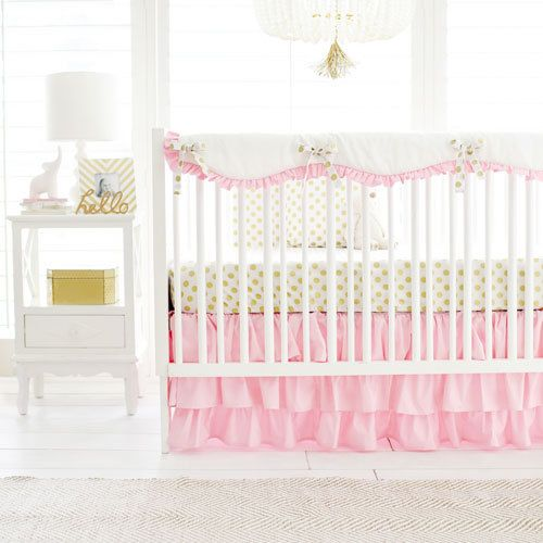 Gold and pink baby bedding is perfect for a glamorous nursery. Our Pink & Gold Polka Dot Crib Bedding is the perfect addition for your pink nursery!