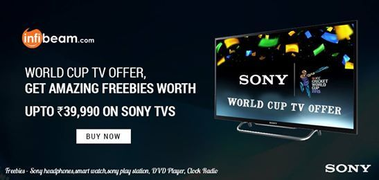 WORLD CUP TV OFFER !  Get Amazing Freebies Worth Up To Rs. 39,990 /- on Buying Sony TVs this World Cup Season !  Freebies include Sony Headphones, Smart Watches, Sony Play Station & more !   #Sony #TV #Television #HomeEntertainment #WorldCup #Offer