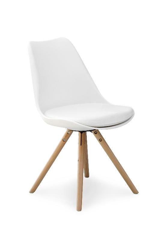 Scandi is een moderne eetkamerstoel bestaande uit vier houten poten gecombineerd met een kunststof zitting verkrijgbaar in meerdere kleuren.  De zitting is bekleed met kunstleer.
