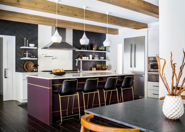 Contemporary Open Kitchen With Purple Island