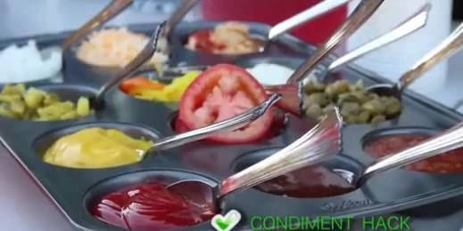 BBQ/Party Tip!  Use a muffin tin to easily display condiments!