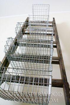 vintage wire baskets & antique ladder