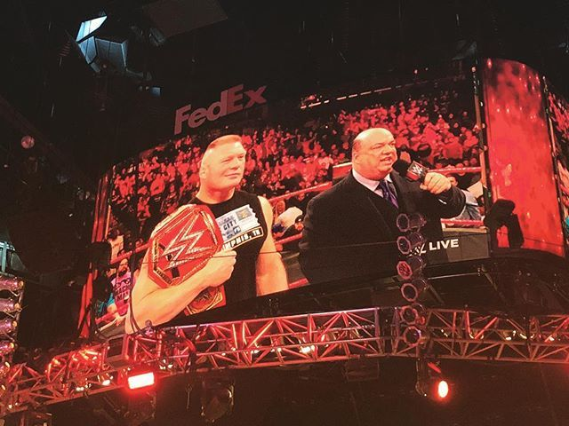 wwe #UniversalChampion #BrockLesnar is on #RAW! @paulheyman FedExForum 2018/01/09 12:08:30