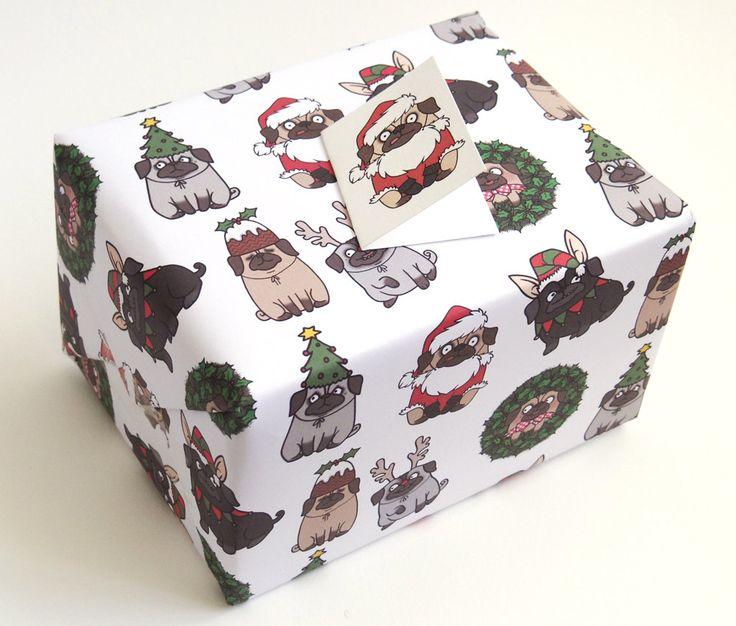 Pug Christmas Gift Wrap and Tags. £5.00, via Etsy.