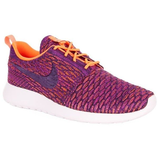 Nike Roshe One Flyknit Trainers (200 CAD) ❤ liked on Polyvore featuring shoes, sneakers, perforated sneakers, nike shoes, lightweight sneakers, traction shoes and flyknit sneakers
