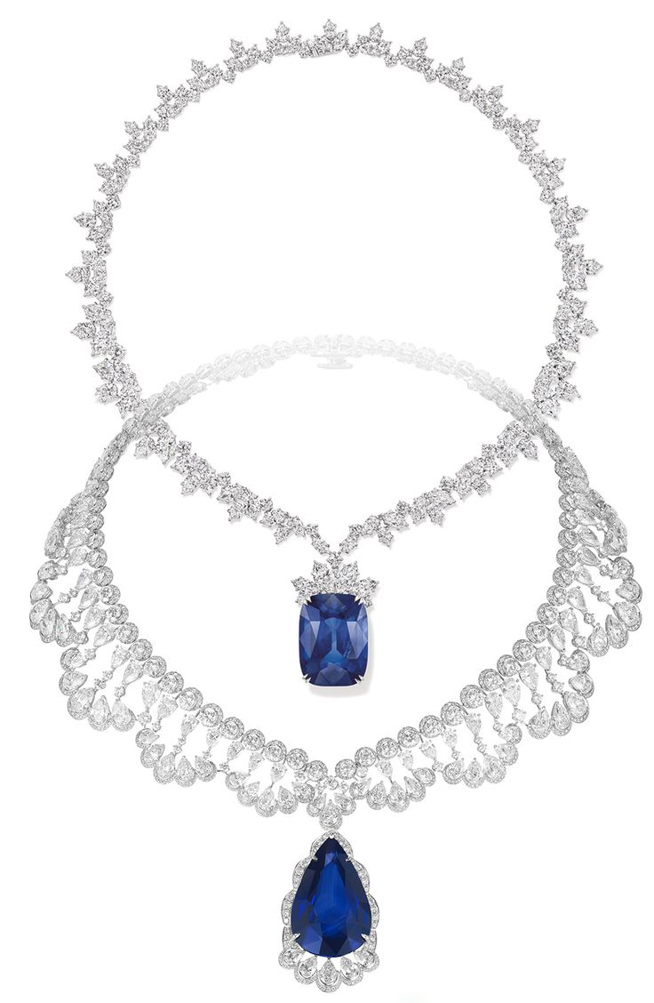 On top: Harry Winston necklace with 68.79cts cushion-cut sapphire and diamonds. On bottom: Chopard necklace with a 60 cts pear-shaped sapphire and diamonds