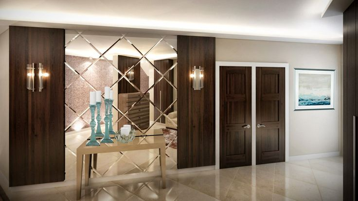 Contemporary stílusú előszoba metszett tükör falburkolattal / Contemporary style hallway with bevelled mirror wall tiles  living room  dining room kitchen chairs airmchairs mirror mirrors sofa turquoise interior  desing home furniture lamp