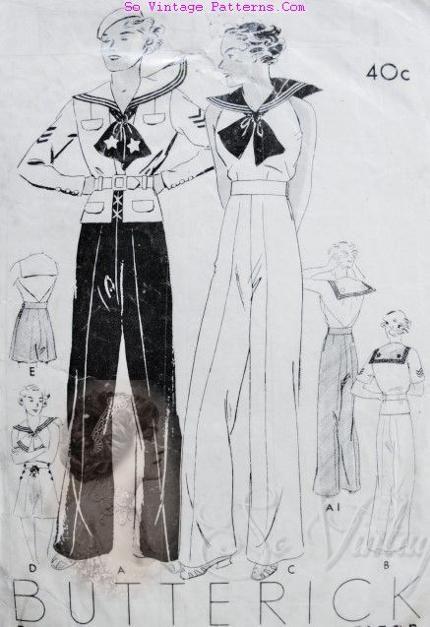 Butterick 6627 sailor jacket, halter, pants, & shorts