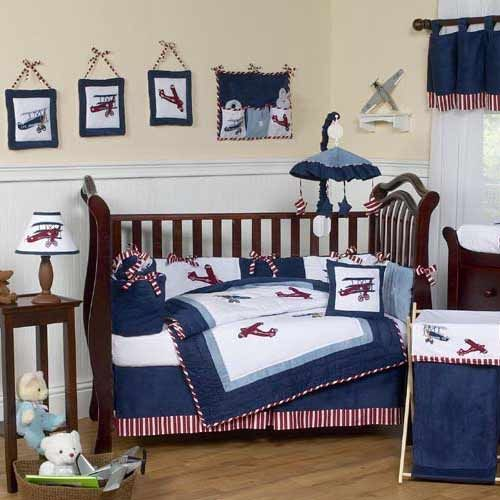 23 best images about airplane nursery ideas on pinterest pottery barn kids airplane mobile - Airplane baby bedding sets ...