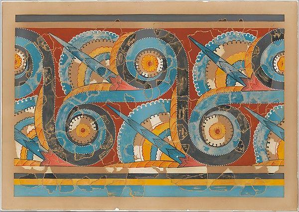 Riproduzione del Grande S-spirale fregio, ca 1400-1200 a.C.  Affresco dal grande piazzale del Palazzo di Tirinto, 91,4 X 67,3 cm. Museo Archeologico Nazionale di Atene.