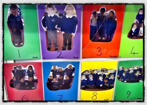 Great advice from Alistair on this site - feature the children in their own photo number line to reinforce number concepts (but focus on photographing the children who struggle with number, as they are the ones who need this display most)