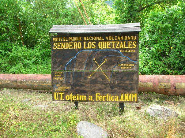 Wooden map of Sendero Los Quetzales near Volcan Baru National Park//Wooden map of the Sendero Los Quetzales near the Parque Nacional Volcan Baru. Panama