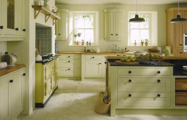 Country Kitchens With Green Cabinets