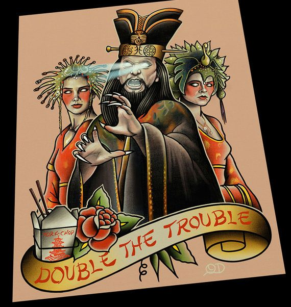 David lo pan tattoo flash double the trouble