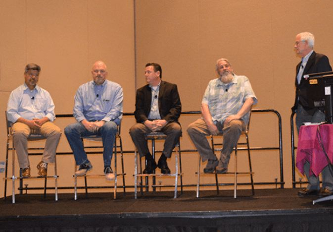 Potato expectations critical in buy-sell relationship   Packer. Tony Trujillo (from left) of Farm Fresh Direct, Steve Elfering of Potandon Produce, Scott Bennett of Jewel-Osco, Jeff Heins of Walmart/Florida, and moderator Mac Johnson talk about buyer-seller relationships at the 2018 Potato Expo Jan. 11 in Orlando, Fla.
