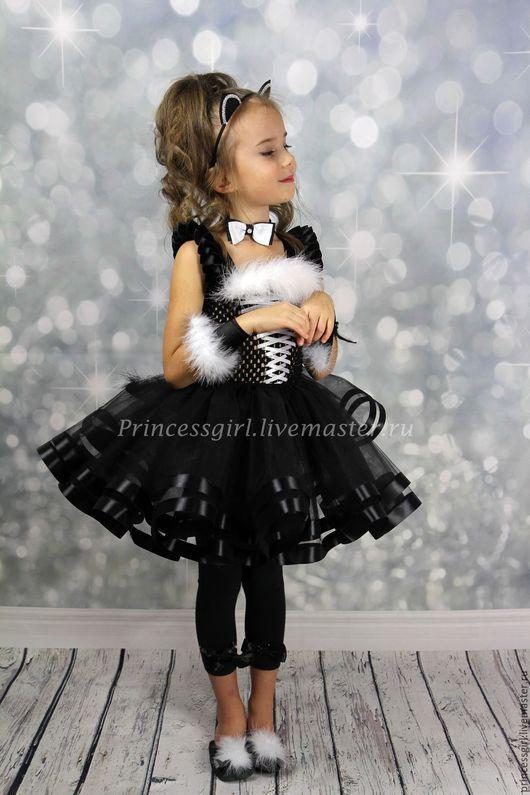 Детские карнавальные костюмы ручной работы. Ярмарка Мастеров - ручная работа. Купить Новогодний костюм  кошки для девочки. Handmade. Черный