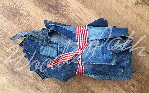 1 kg Denim Scraps Jeans Mixed Colours Scraps For Patchwork