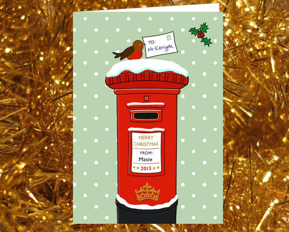 60 best christmas images on pinterest post box mailbox and mail boxes christmas card unique illustration of red post box personalised great for teachers spiritdancerdesigns Gallery