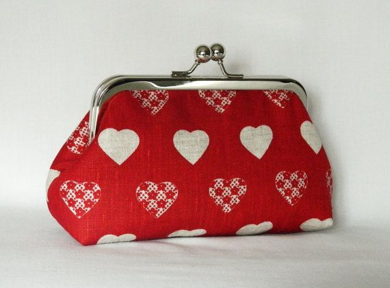 Clutch Purse Red Linen Clutch with Heart Shapes by TheHeartLabel