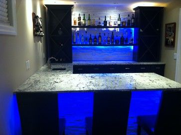 Cold Spring Granite Bar With LED Lighting   Modern   Basement   Calgary    Stone Consulting Group